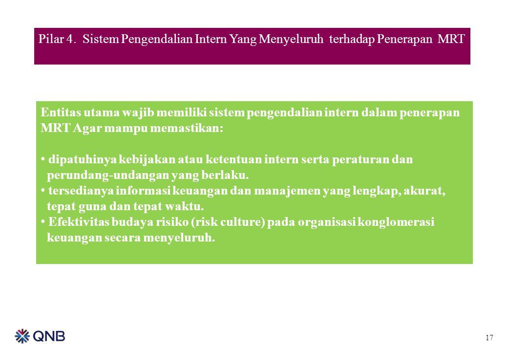 17 Pilar 4. Sistem Pengendalian Intern Yang Menyeluruh terhadap Penerapan MRT Entitas utama wajib memiliki sistem pengendalian intern dalam penerapan