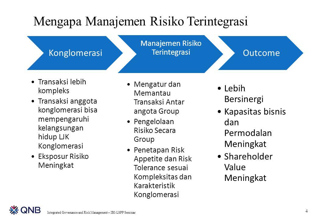 4 Integrated Governance and Risk Management – IBI-LSPP Seminar Konglomerasi Transaksi lebih kompleks Transaksi anggota konglomerasi bisa mempengaruhi