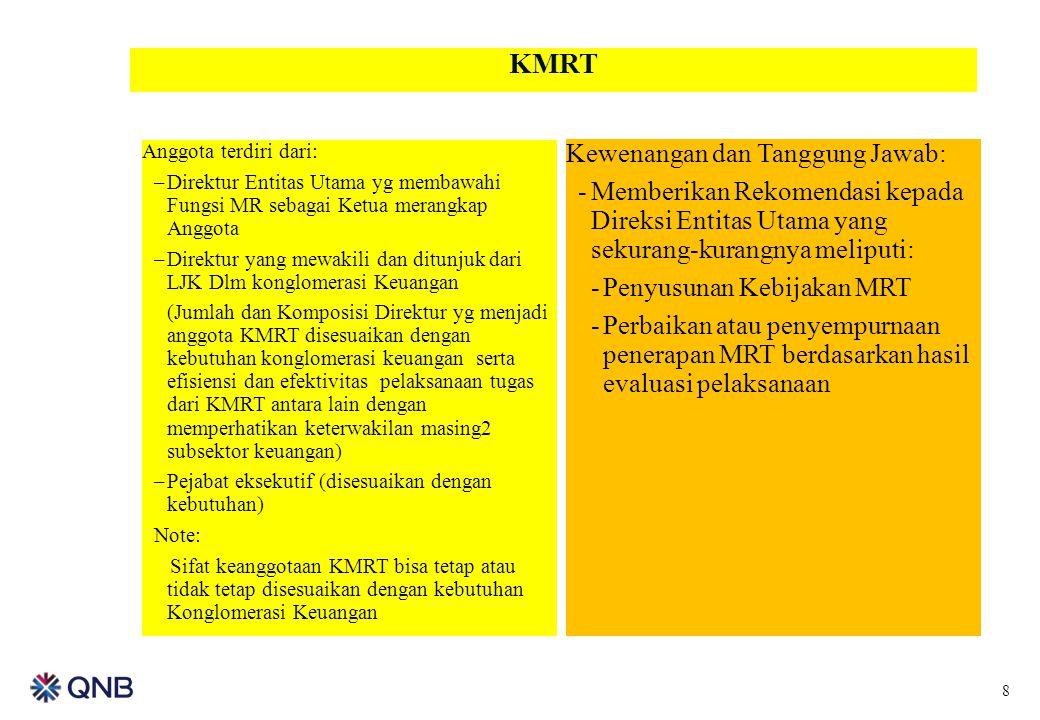 KMRT Anggota terdiri dari: –Direktur Entitas Utama yg membawahi Fungsi MR sebagai Ketua merangkap Anggota –Direktur yang mewakili dan ditunjuk dari LJ