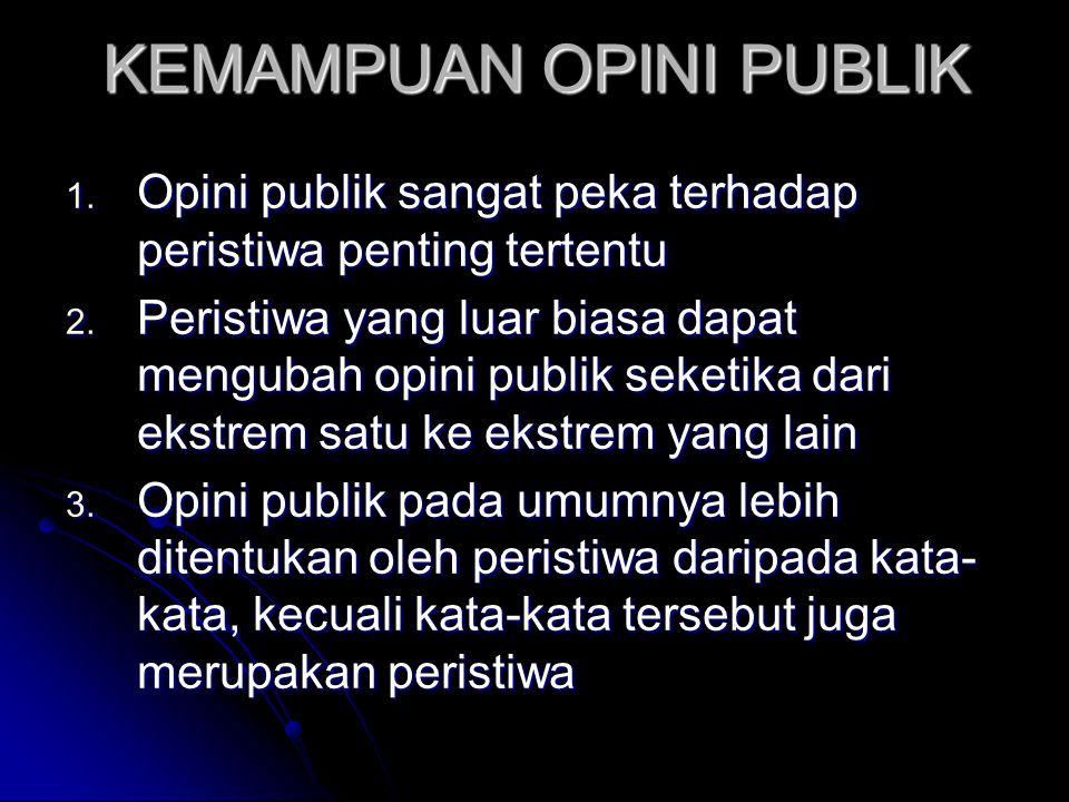 KEMAMPUAN OPINI PUBLIK 1. Opini publik sangat peka terhadap peristiwa penting tertentu 2. Peristiwa yang luar biasa dapat mengubah opini publik seketi