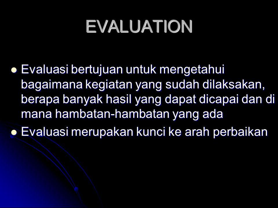 EVALUATION Evaluasi bertujuan untuk mengetahui bagaimana kegiatan yang sudah dilaksakan, berapa banyak hasil yang dapat dicapai dan di mana hambatan-h
