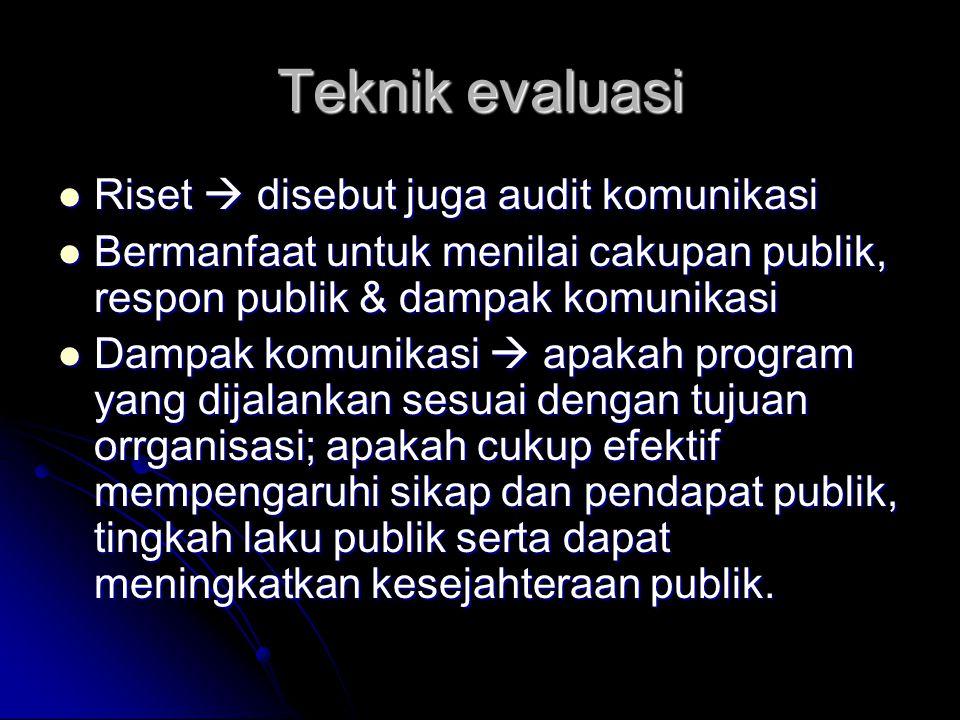 Teknik evaluasi Riset  disebut juga audit komunikasi Riset  disebut juga audit komunikasi Bermanfaat untuk menilai cakupan publik, respon publik & d