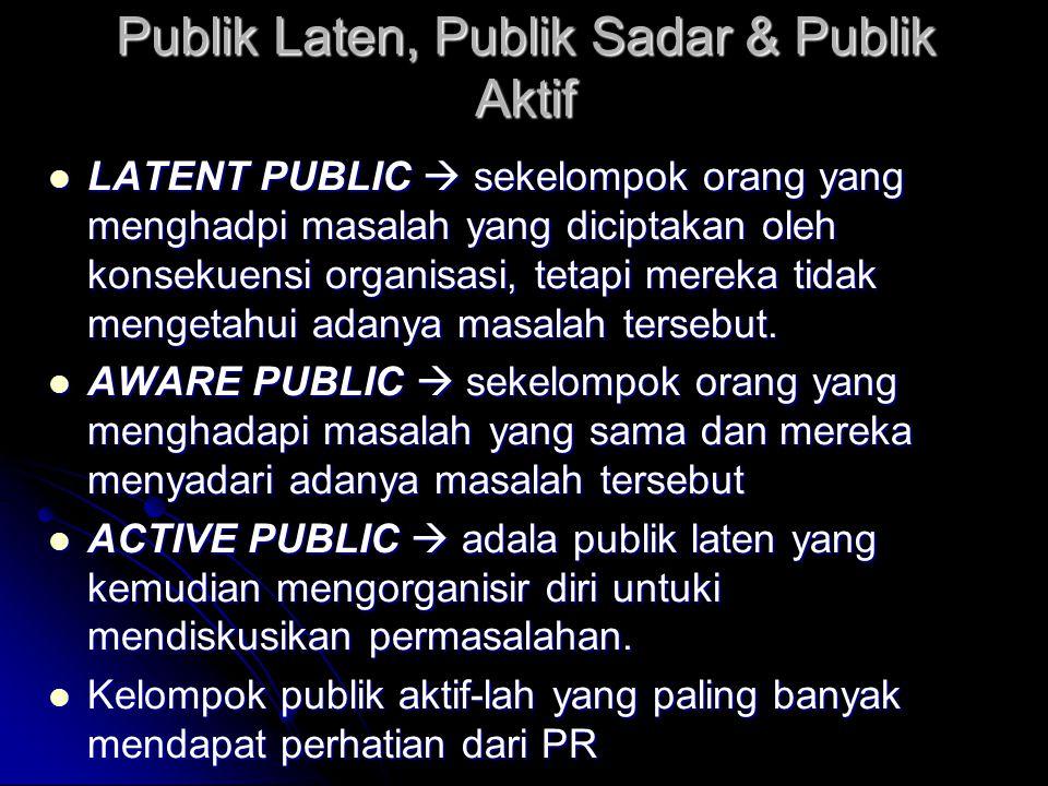 Publik Laten, Publik Sadar & Publik Aktif LATENT PUBLIC  sekelompok orang yang menghadpi masalah yang diciptakan oleh konsekuensi organisasi, tetapi