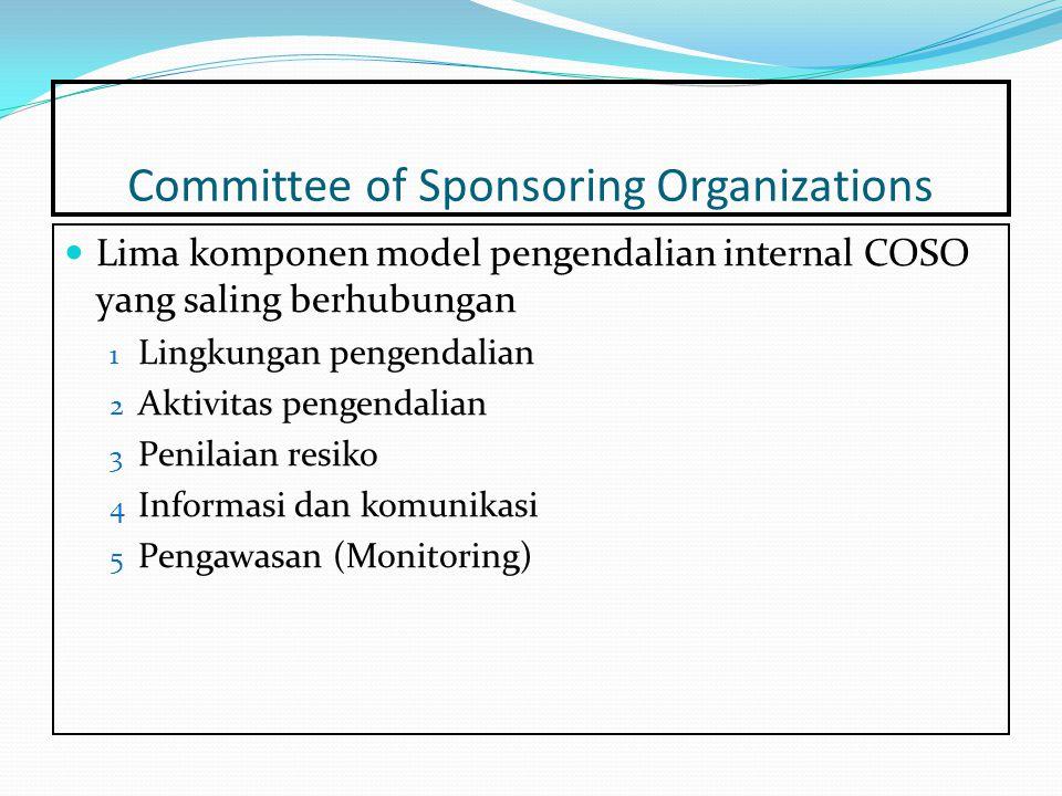 Committee of Sponsoring Organizations Lima komponen model pengendalian internal COSO yang saling berhubungan 1 Lingkungan pengendalian 2 Aktivitas pengendalian 3 Penilaian resiko 4 Informasi dan komunikasi 5 Pengawasan (Monitoring)