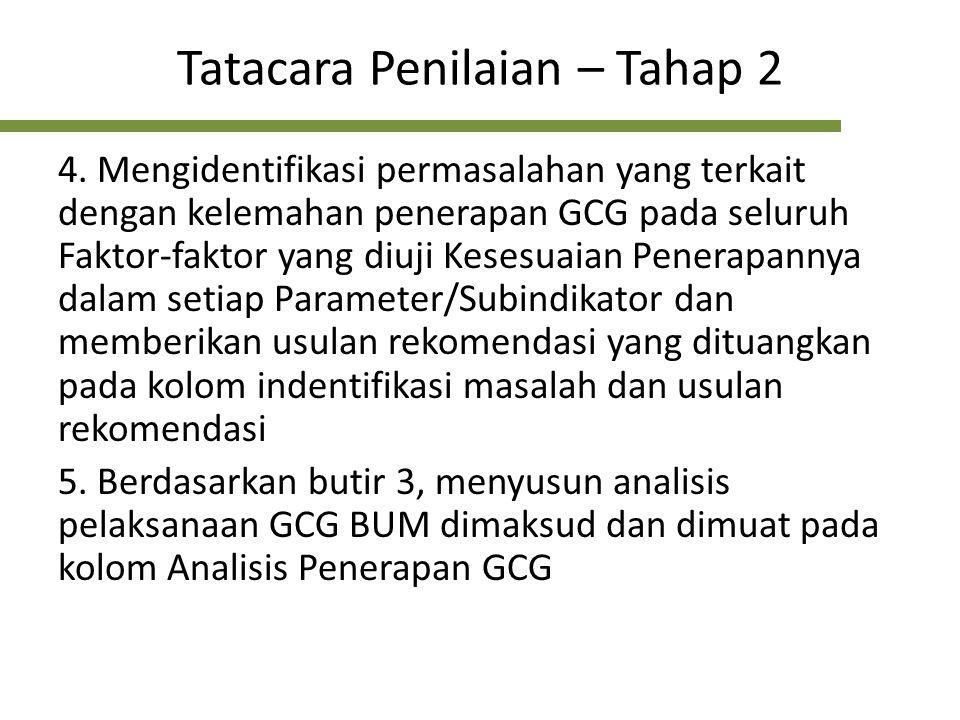 Tatacara Penilaian – Tahap 2 4. Mengidentifikasi permasalahan yang terkait dengan kelemahan penerapan GCG pada seluruh Faktor-faktor yang diuji Kesesu