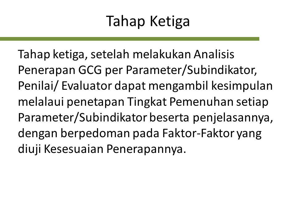 Tahap Ketiga Tahap ketiga, setelah melakukan Analisis Penerapan GCG per Parameter/Subindikator, Penilai/ Evaluator dapat mengambil kesimpulan melalaui