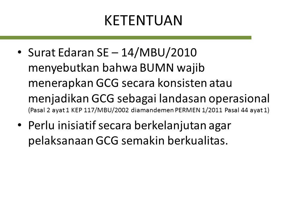 Upaya Peningkatan Kualitas GCG 1.Menjadikan kualitas pelaksanaan GCG sebagai Indikator Kinerja Utama (Key Performance Indicator/KPI) dalam kontrak manajemen tahunan BUMN (unsur reward and recognition) 2.Direksi dan Dewan Komisaris/Dewan Pengawas memiliki program kerja yang jelas dan terarah dalam rangka pencapaian target kinerja GCG berdasarkan KPI tsb serta dituangkan dalam RKAP 3.Melaksanakan Program Assesment dan Review Pelaksanaan GCG Sumber SE 14/MBU/2010