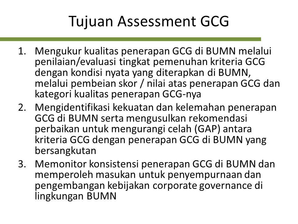 Tujuan Assessment GCG 1.Mengukur kualitas penerapan GCG di BUMN melalui penilaian/evaluasi tingkat pemenuhan kriteria GCG dengan kondisi nyata yang di