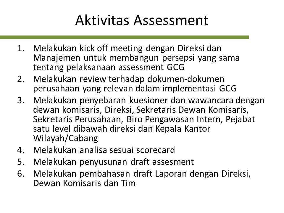 Proses Assessment Kondisi Obyektif Praktik GCG Pengumpulan Data Review Dokumen Pengisian Kuesioner Hasil Wawancara Analysis Laporan Assessment Menggunakan Indikator/Bobot/ Skor Nilai AssessmentRekomendasi