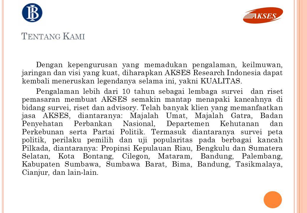 Track Records Track Records 1.Riset Perusahaan dan Kondisi Karyawan Sektor Logistik, Kurir dan Ekpress (2008) 2.Survey Kemauan dan Kemampuan PNS untuk Tinggal di Rumah Susun Badan Pertimbangan Tabungan Perumahan PNS (2007) 3.Suryey Monitoring dan Evaluasi Pendidikan Menengah Departemen Pendidikan Nasional Wilayah Indonesia Barat (2006) 4.Survey Kepuasan Kinerja Departemen Pertanian RI (2006) 5.Survey Kondisi Karyawan Perusahaan Telekomunikasi dan Perbankan Asing di Indonesia, Asosiasi Serikat Pekerja (2004) 6.Profesional Swasta dalam Lingkungan Pemerintah (Survey Lapangan di Jakarta, Medan, Yogyakarta, Surabaya dan Makassar (2000) 7.Analisis Isi Media Daerah Terhadap Kinerja Dephutbun Lokasi : Jakarta, Medan, Riau, Jambi, Surabaya, Semarang, Pontianak, Manado, Jayapura (2000) 8.Analisis Isi Media Daerah Terhadap Kinerja Dephutbun Lokasi Riau, Surabaya, Balikpapan, Makasar, Jayapura (1999) 9.Perguruan Tinggi dan Profesi Favorit Siswa SLTA di Jakarta, Medan, Yogyakarta, Surabaya dan Makassar (Mei 1999) 10.Survey Pembaca Majah GATRA (Mei 1999) 11.Pemulihan Ekonomi Nasional Poling di Jakarta, Medan, Yogyakarta, Surabaya, dan Makasar (1999) 12.Persepsi Mahasiswa atas Kinerja Badan Penyehatan Perbankan Nasional (BPPN) (Survey Lapangan di Jakarta, Bandung, Medan, Yogyakarta, Surabaya dan Makassar (1999) 13.Kinerja Menteri Kabinet Pembangunan VI (Polling di Jakarta,1997) 14.Persepsi Pemirsa TV antar Acara Rohani Islam di Bulan Ramadahan Analisis Isi Media TV di Jakarta (1997) 15.Likuidasi Perbankan Nasional Poling di Jakarta (1997) Riset Pasar dan Kepuasan Masyarakat