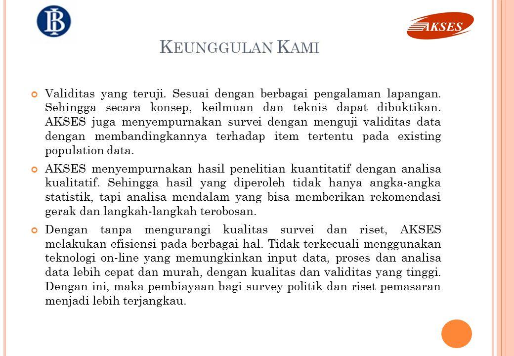 J ASA K AMI Komitmen kami dalam membantu perusahaan serta organisasi sosial dan politik di Indonesia kami wujudkan dalam bentuk pelayanan atas : Riset dan Survei Sosial – Politik Pelatihan Riset Pelatihan Politik Terapan Riset Pemasaran