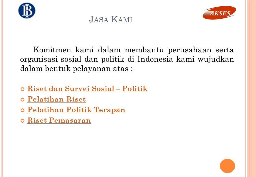 J ASA K AMI Komitmen kami dalam membantu perusahaan serta organisasi sosial dan politik di Indonesia kami wujudkan dalam bentuk pelayanan atas : Riset