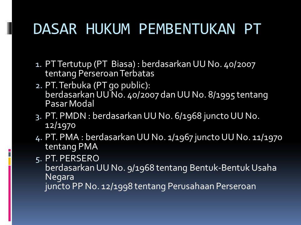DASAR HUKUM PEMBENTUKAN PT 1.PT Tertutup (PT Biasa) : berdasarkan UU No.