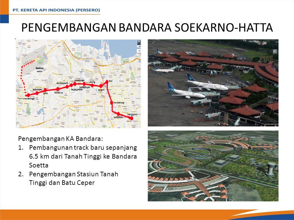 PENGEMBANGAN BANDARA SOEKARNO-HATTA Pengembangan KA Bandara: 1.Pembangunan track baru sepanjang 6.5 km dari Tanah Tinggi ke Bandara Soetta 2.Pengembangan Stasiun Tanah Tinggi dan Batu Ceper