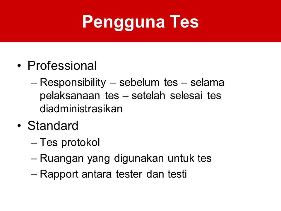 Pengguna Tes Professional –Responsibility – sebelum tes – selama pelaksanaan tes – setelah selesai tes diadministrasikan Standard –Tes protokol –Ruangan yang digunakan untuk tes –Rapport antara tester dan testi
