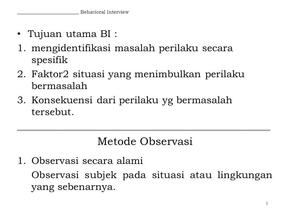 __________________________ Behavioral Interview Tujuan utama BI : 1.mengidentifikasi masalah perilaku secara spesifik 2.Faktor2 situasi yang menimbulk