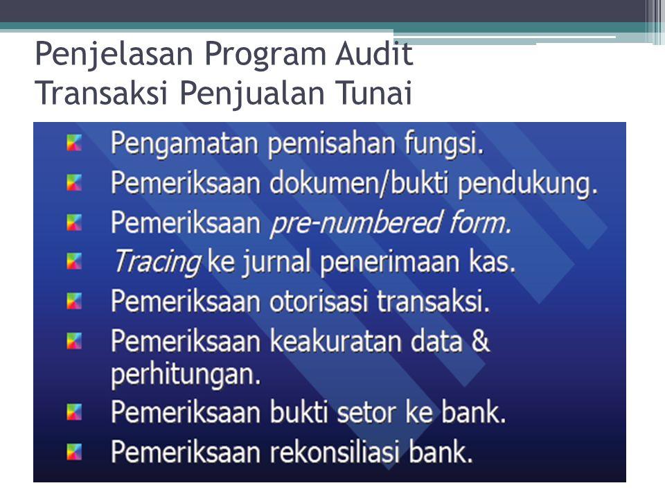 Penjelasan Program Audit Transaksi Penjualan Tunai