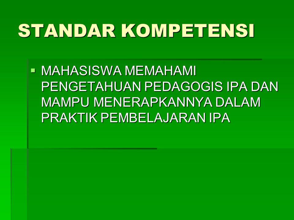 STANDAR KOMPETENSI  MAHASISWA MEMAHAMI PENGETAHUAN PEDAGOGIS IPA DAN MAMPU MENERAPKANNYA DALAM PRAKTIK PEMBELAJARAN IPA