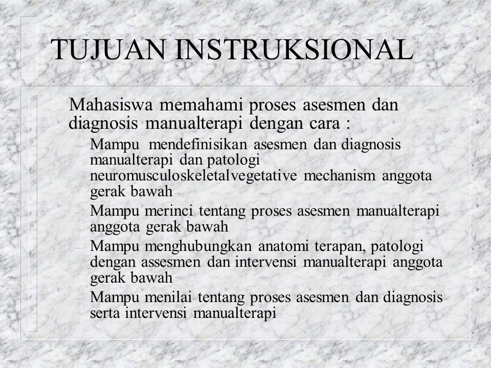TUJUAN INSTRUKSIONAL Mahasiswa memahami proses asesmen dan diagnosis manualterapi dengan cara : – Mampu mendefinisikan asesmen dan diagnosis manualter