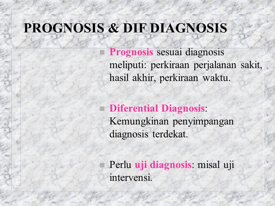 PROGNOSIS & DIF DIAGNOSIS n Prognosis sesuai diagnosis meliputi: perkiraan perjalanan sakit, hasil akhir, perkiraan waktu. n Diferential Diagnosis: Ke