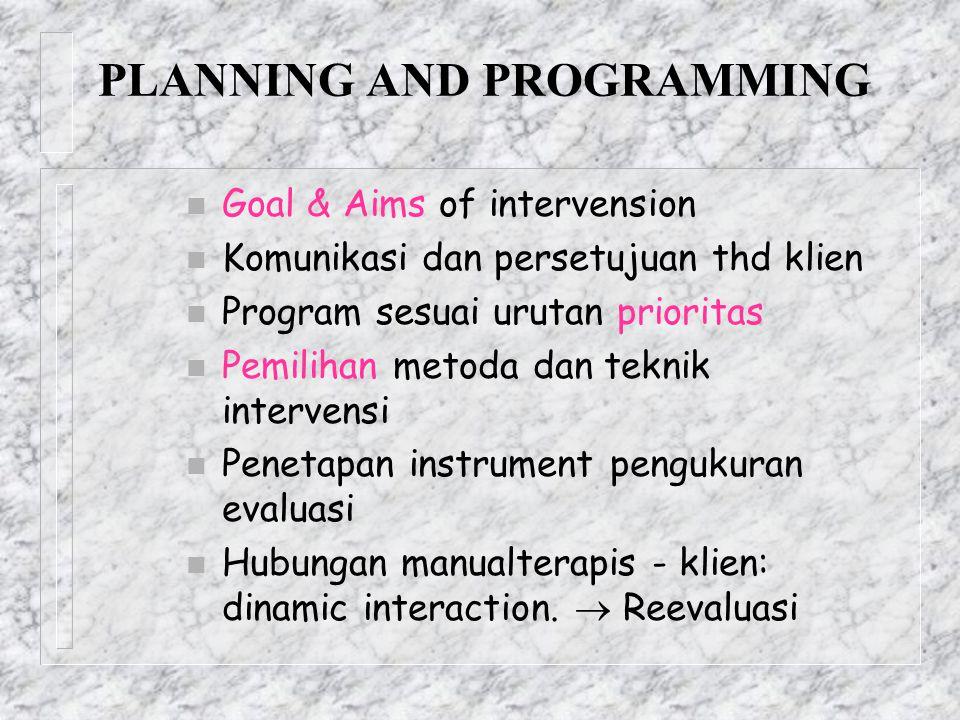 PLANNING AND PROGRAMMING n Goal & Aims of intervension n Komunikasi dan persetujuan thd klien n Program sesuai urutan prioritas n Pemilihan metoda dan
