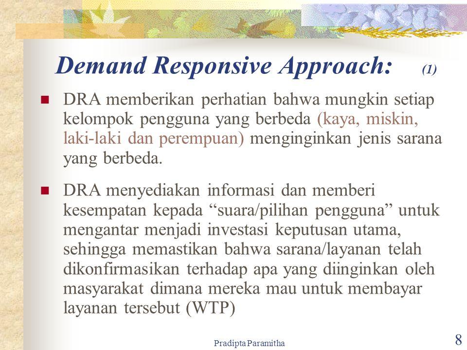 Pradipta Paramitha 8 Demand Responsive Approach: (1) DRA memberikan perhatian bahwa mungkin setiap kelompok pengguna yang berbeda (kaya, miskin, laki-laki dan perempuan) menginginkan jenis sarana yang berbeda.