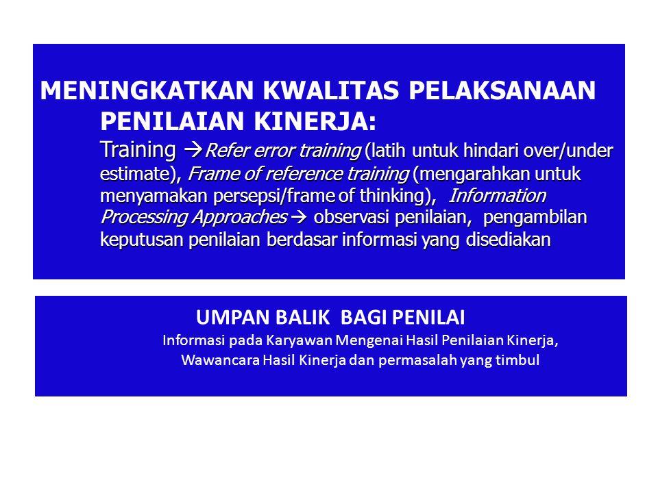 Training  Refer error training (latih untuk hindari over/under estimate), Frame of reference training (mengarahkan untuk menyamakan persepsi/frame of