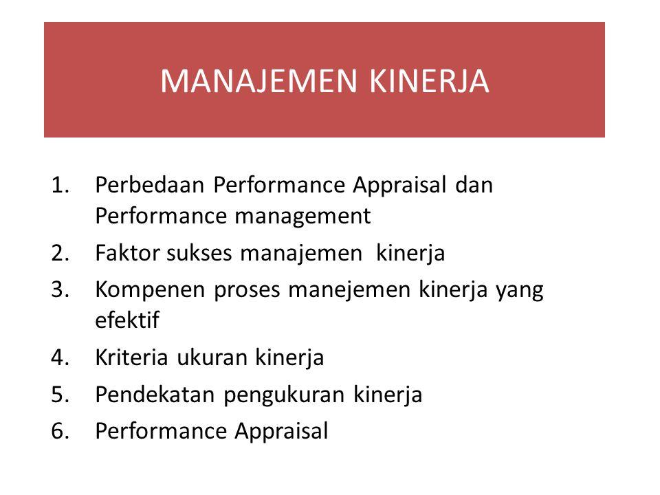 MANAJEMEN KINERJA 1.Perbedaan Performance Appraisal dan Performance management 2.Faktor sukses manajemen kinerja 3.Kompenen proses manejemen kinerja y