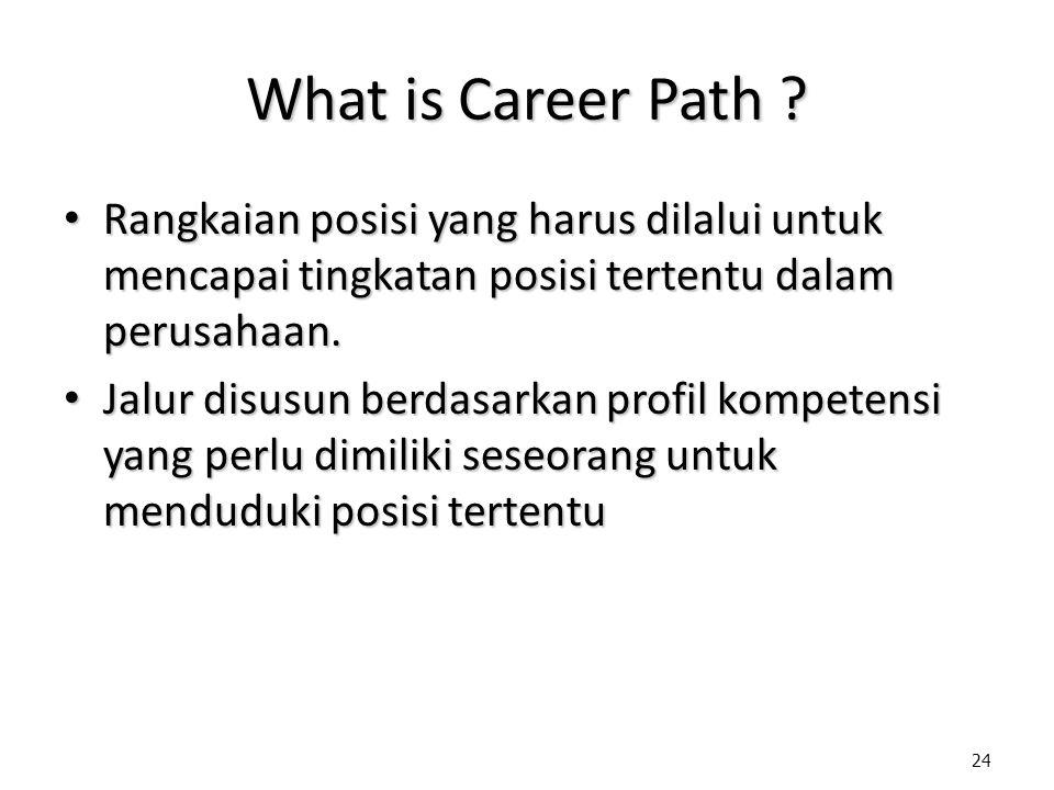 24 What is Career Path ? Rangkaian posisi yang harus dilalui untuk mencapai tingkatan posisi tertentu dalam perusahaan. Rangkaian posisi yang harus di