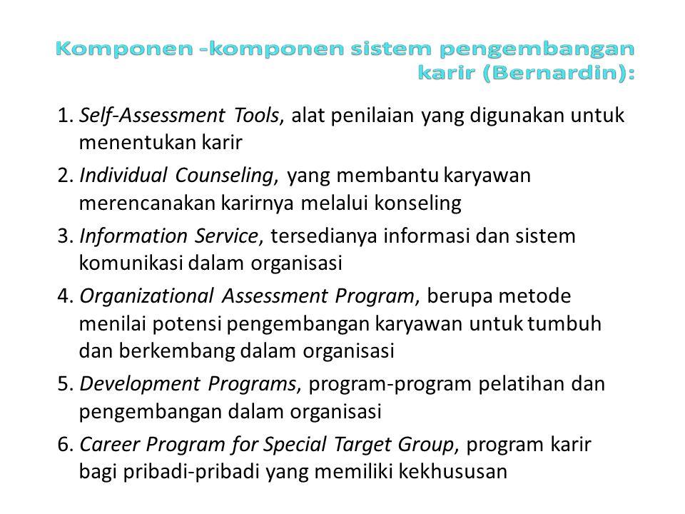 1. Self-Assessment Tools, alat penilaian yang digunakan untuk menentukan karir 2. Individual Counseling, yang membantu karyawan merencanakan karirnya