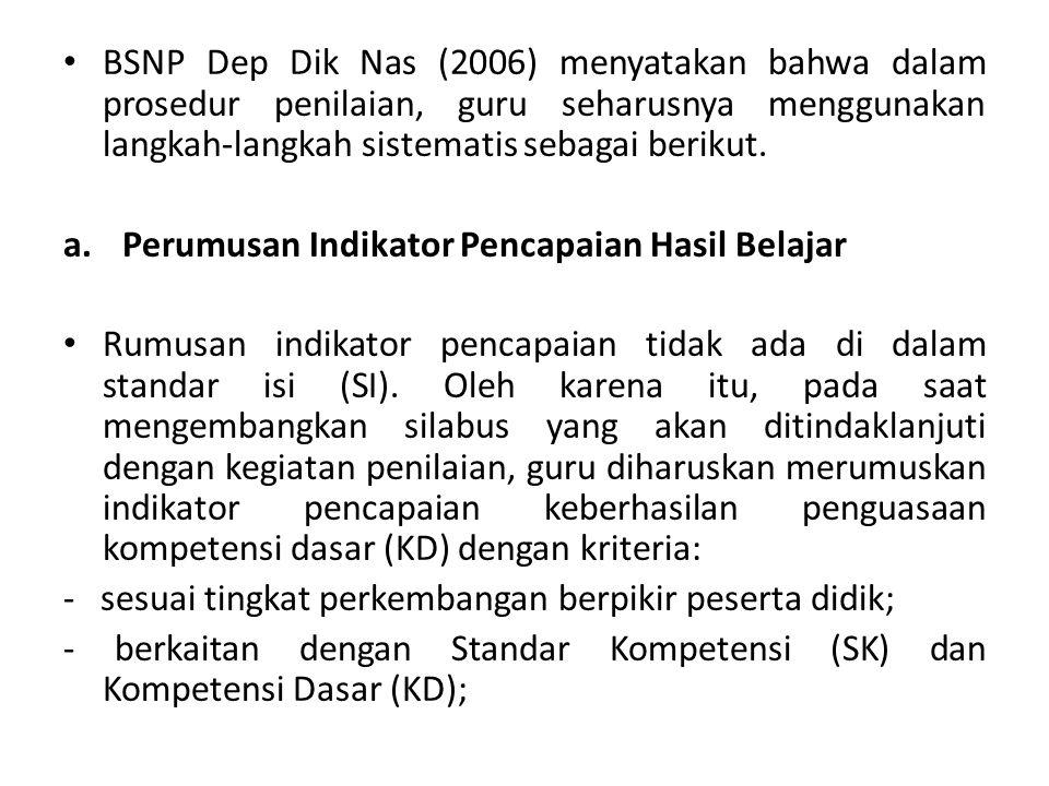 BSNP Dep Dik Nas (2006) menyatakan bahwa dalam prosedur penilaian, guru seharusnya menggunakan langkah-langkah sistematis sebagai berikut. a.Perumusan