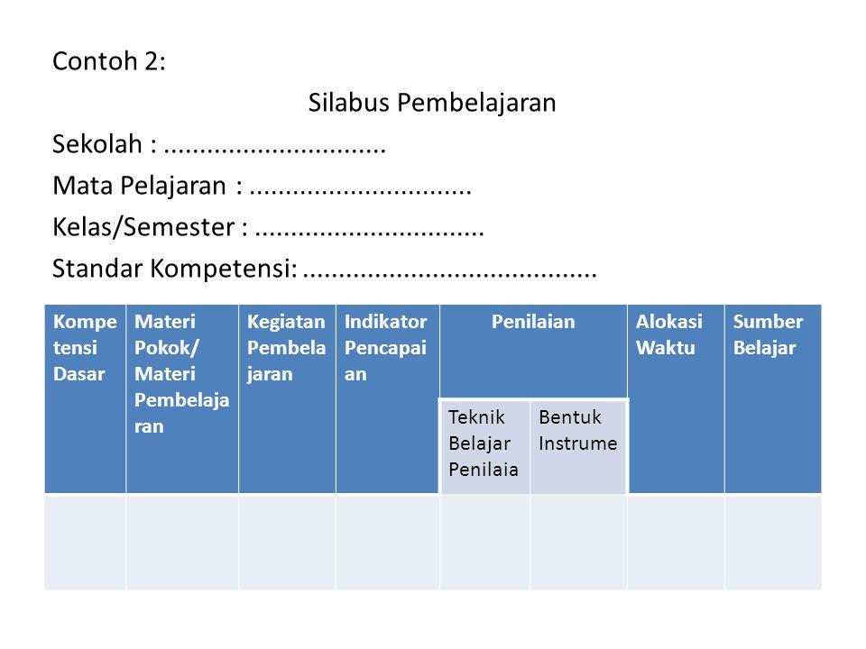 Contoh 2: Silabus Pembelajaran Sekolah :............................... Mata Pelajaran :............................... Kelas/Semester :..............