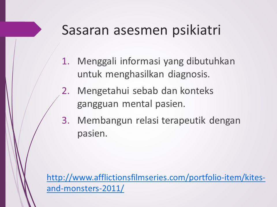 Sasaran asesmen psikiatri 1.Menggali informasi yang dibutuhkan untuk menghasilkan diagnosis. 2.Mengetahui sebab dan konteks gangguan mental pasien. 3.