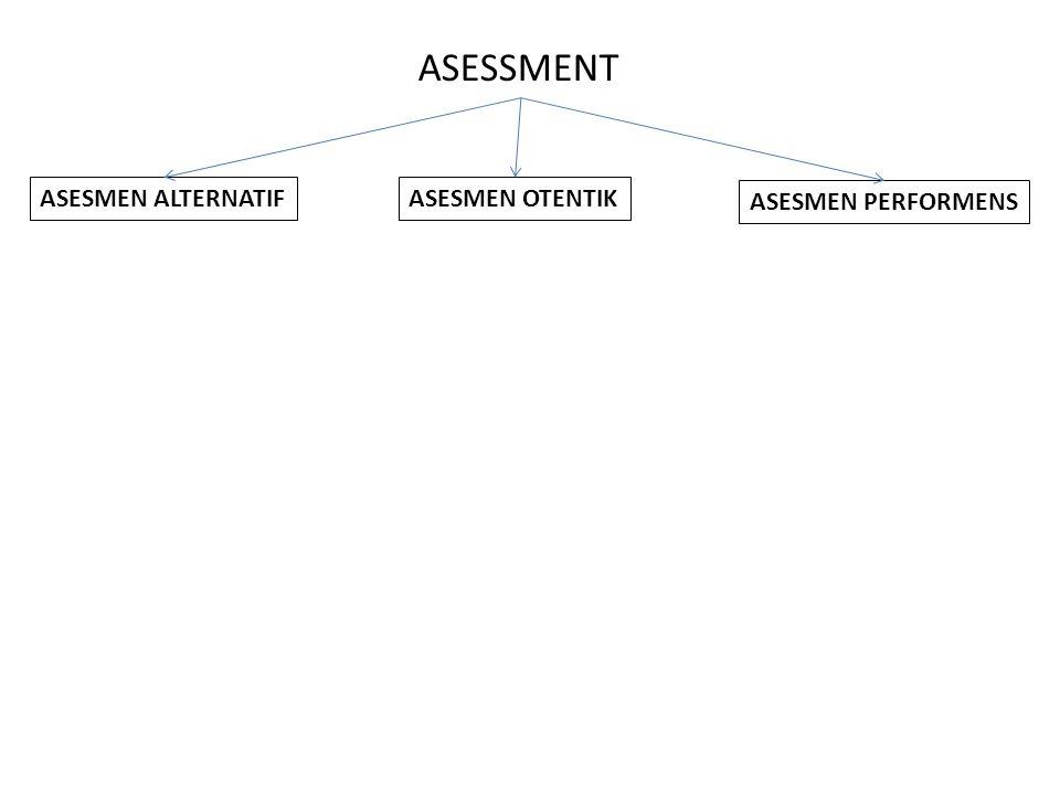 ASESSMENT ASESMEN ALTERNATIF ASESMEN PERFORMENS ASESMEN OTENTIK