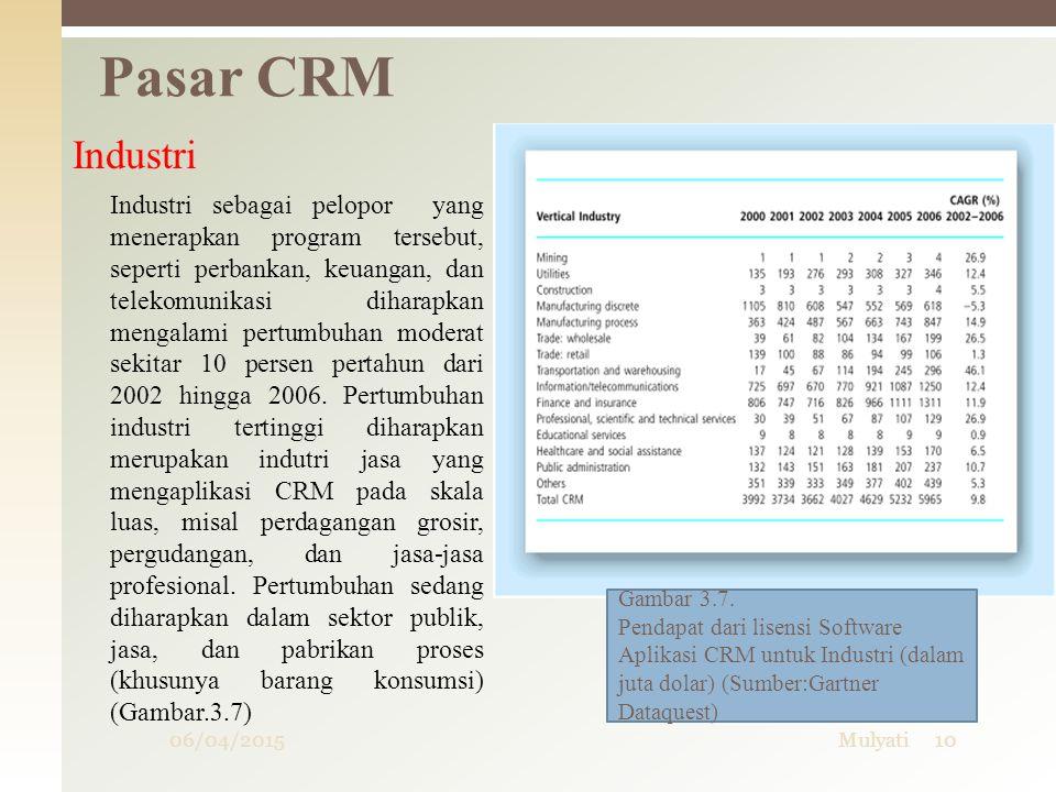 06/04/2015Mulyati10 Pasar CRM Industri Industri sebagai pelopor yang menerapkan program tersebut, seperti perbankan, keuangan, dan telekomunikasi diha
