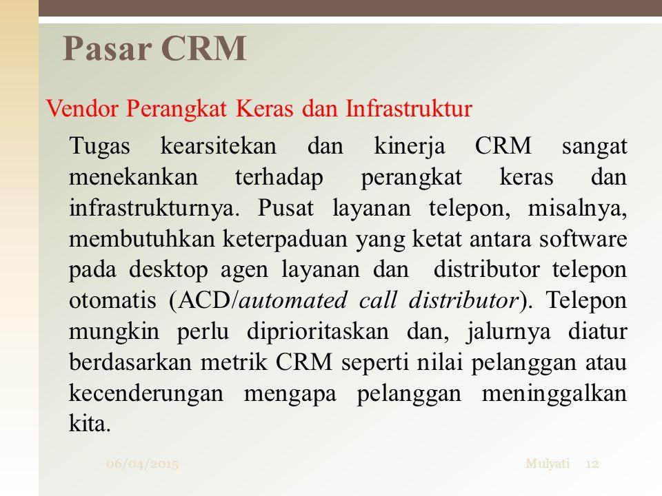 06/04/2015Mulyati12 Pasar CRM Vendor Perangkat Keras dan Infrastruktur Tugas kearsitekan dan kinerja CRM sangat menekankan terhadap perangkat keras da