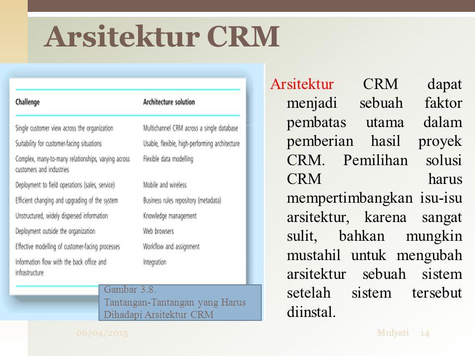 Arsitektur CRM dapat menjadi sebuah faktor pembatas utama dalam pemberian hasil proyek CRM. Pemilihan solusi CRM harus mempertimbangkan isu-isu arsite