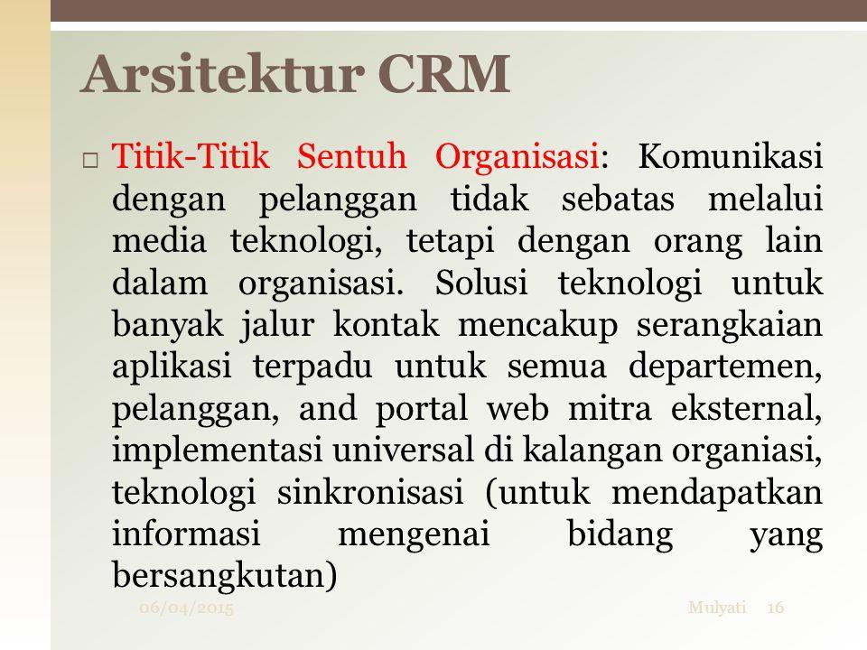 06/04/2015Mulyati16 Arsitektur CRM  Titik-Titik Sentuh Organisasi: Komunikasi dengan pelanggan tidak sebatas melalui media teknologi, tetapi dengan o