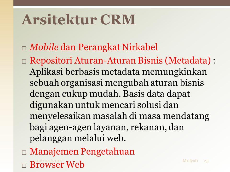06/04/2015Mulyati25  Mobile dan Perangkat Nirkabel  Repositori Aturan-Aturan Bisnis (Metadata) : Aplikasi berbasis metadata memungkinkan sebuah orga