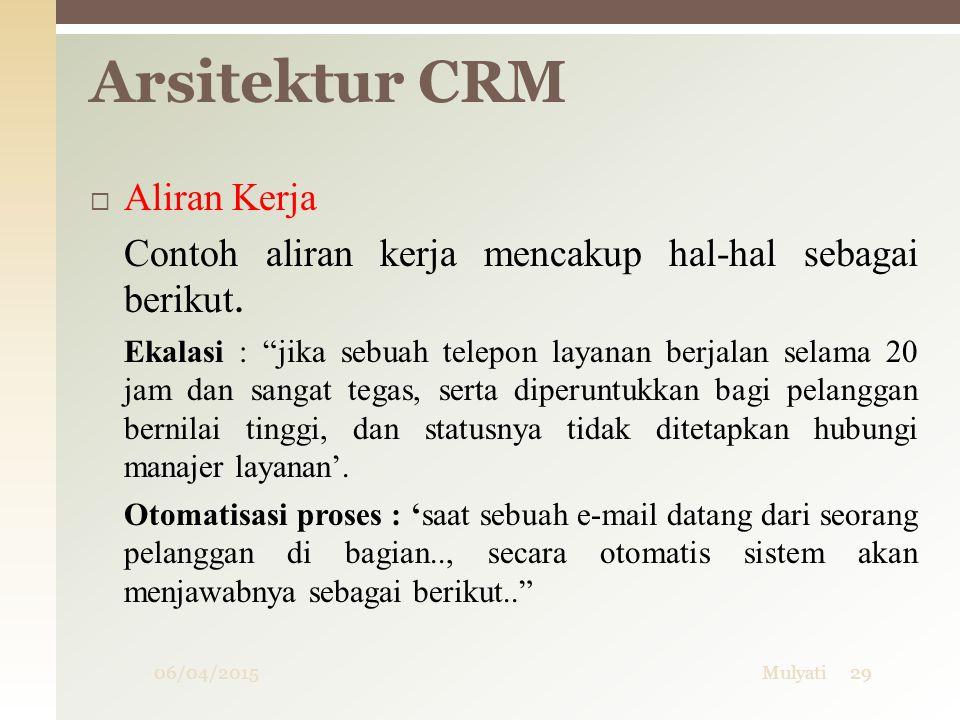 """06/04/2015Mulyati29 Arsitektur CRM  Aliran Kerja Contoh aliran kerja mencakup hal-hal sebagai berikut. Ekalasi : """"jika sebuah telepon layanan berjala"""