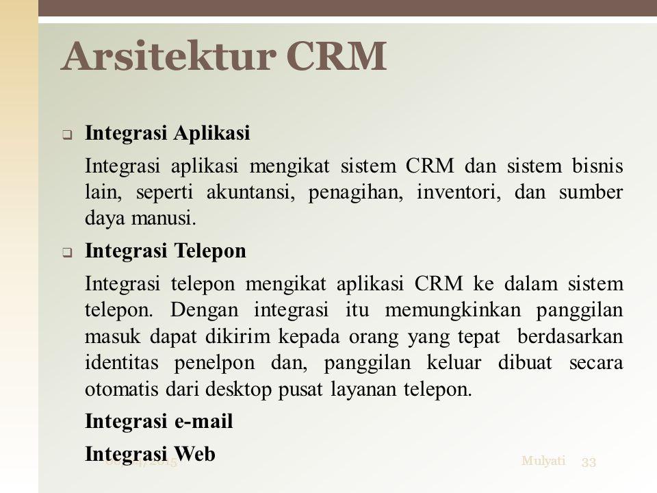 06/04/2015Mulyati33  Integrasi Aplikasi Integrasi aplikasi mengikat sistem CRM dan sistem bisnis lain, seperti akuntansi, penagihan, inventori, dan s