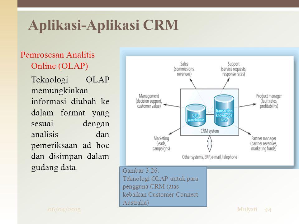 06/04/2015Mulyati44 Aplikasi-Aplikasi CRM Pemrosesan Analitis Online (OLAP) Teknologi OLAP memungkinkan informasi diubah ke dalam format yang sesuai d