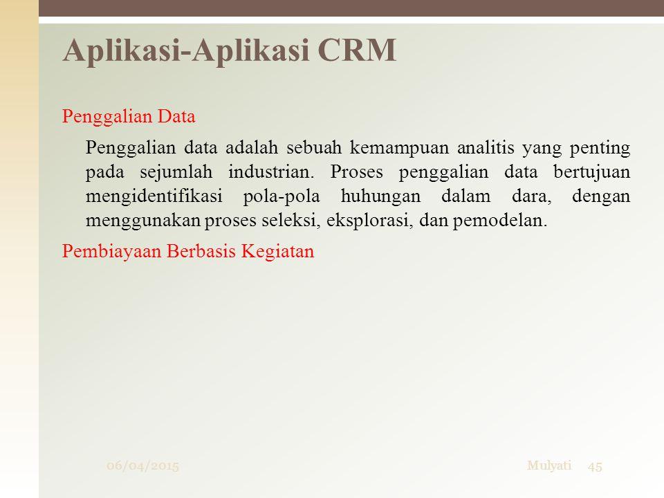 06/04/2015Mulyati45 Aplikasi-Aplikasi CRM Penggalian Data Penggalian data adalah sebuah kemampuan analitis yang penting pada sejumlah industrian. Pros