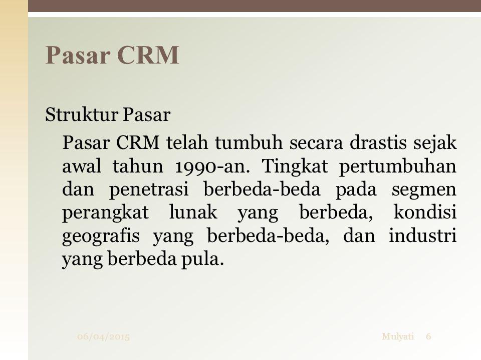 06/04/20156Mulyati Struktur Pasar Pasar CRM telah tumbuh secara drastis sejak awal tahun 1990-an. Tingkat pertumbuhan dan penetrasi berbeda-beda pada