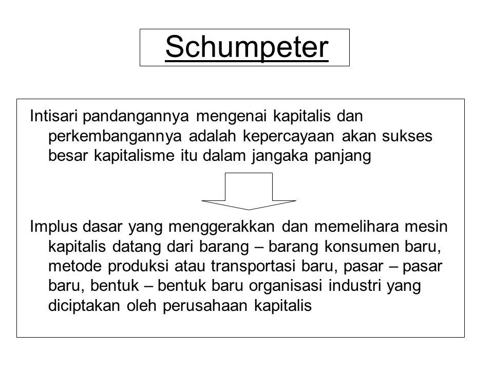 Schumpeter Intisari pandangannya mengenai kapitalis dan perkembangannya adalah kepercayaan akan sukses besar kapitalisme itu dalam jangaka panjang Imp
