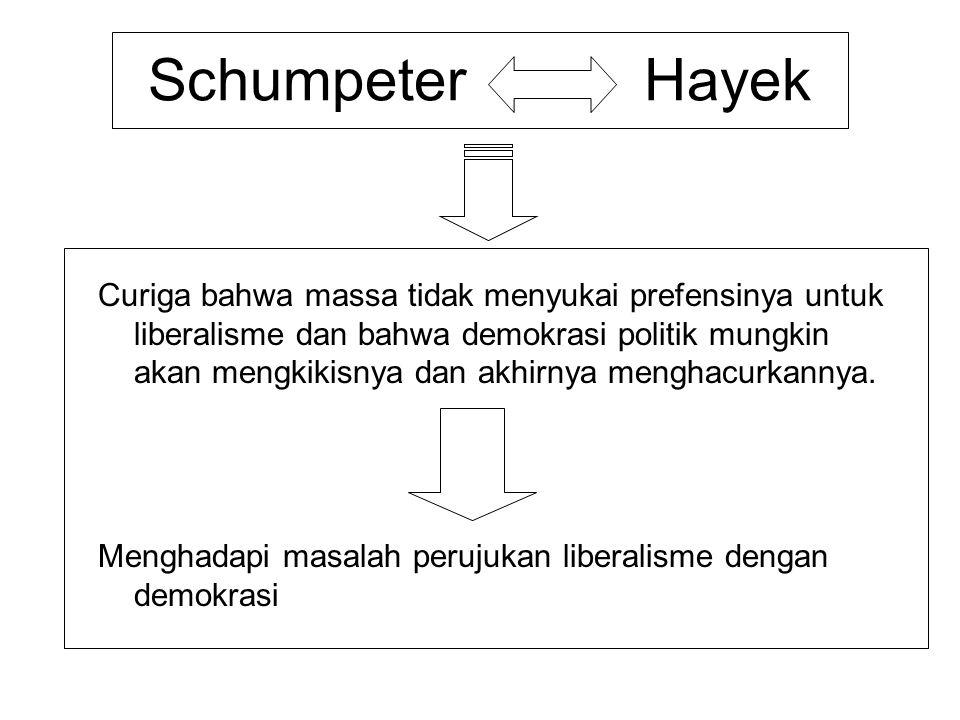 Schumpeter Hayek Curiga bahwa massa tidak menyukai prefensinya untuk liberalisme dan bahwa demokrasi politik mungkin akan mengkikisnya dan akhirnya me
