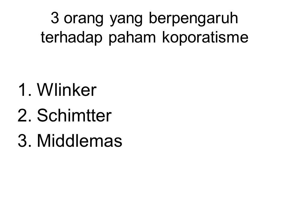 3 orang yang berpengaruh terhadap paham koporatisme 1.Wlinker 2.Schimtter 3.Middlemas