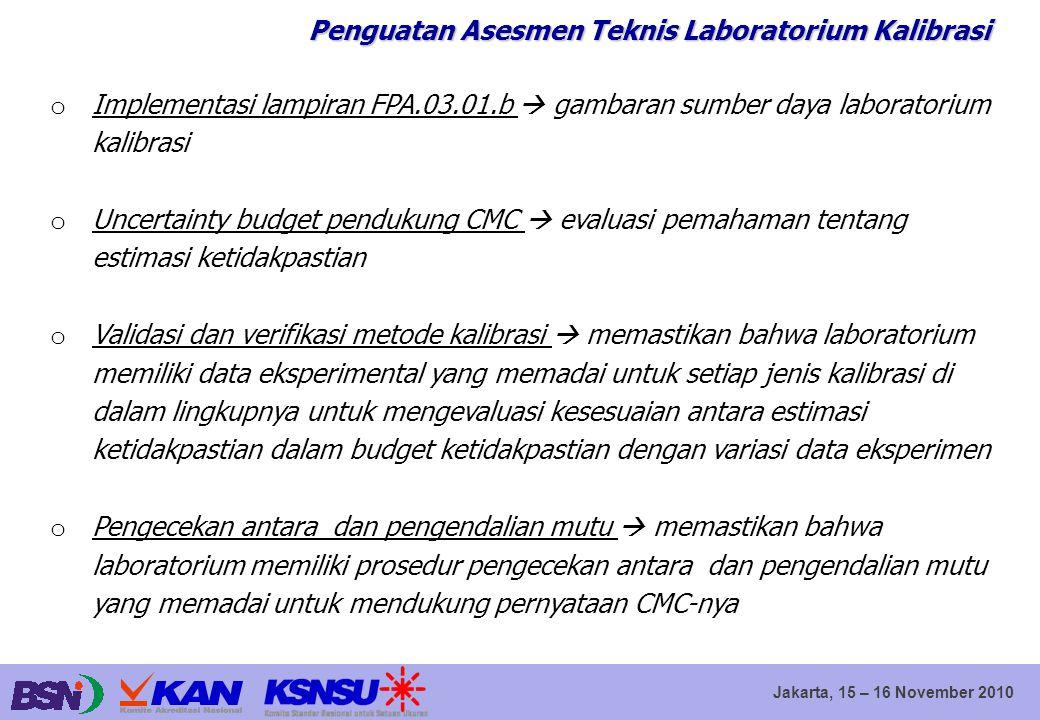 Jakarta, 15 – 16 November 2010 Penguatan Asesmen Teknis Laboratorium Kalibrasi o Implementasi lampiran FPA.03.01.b  gambaran sumber daya laboratorium
