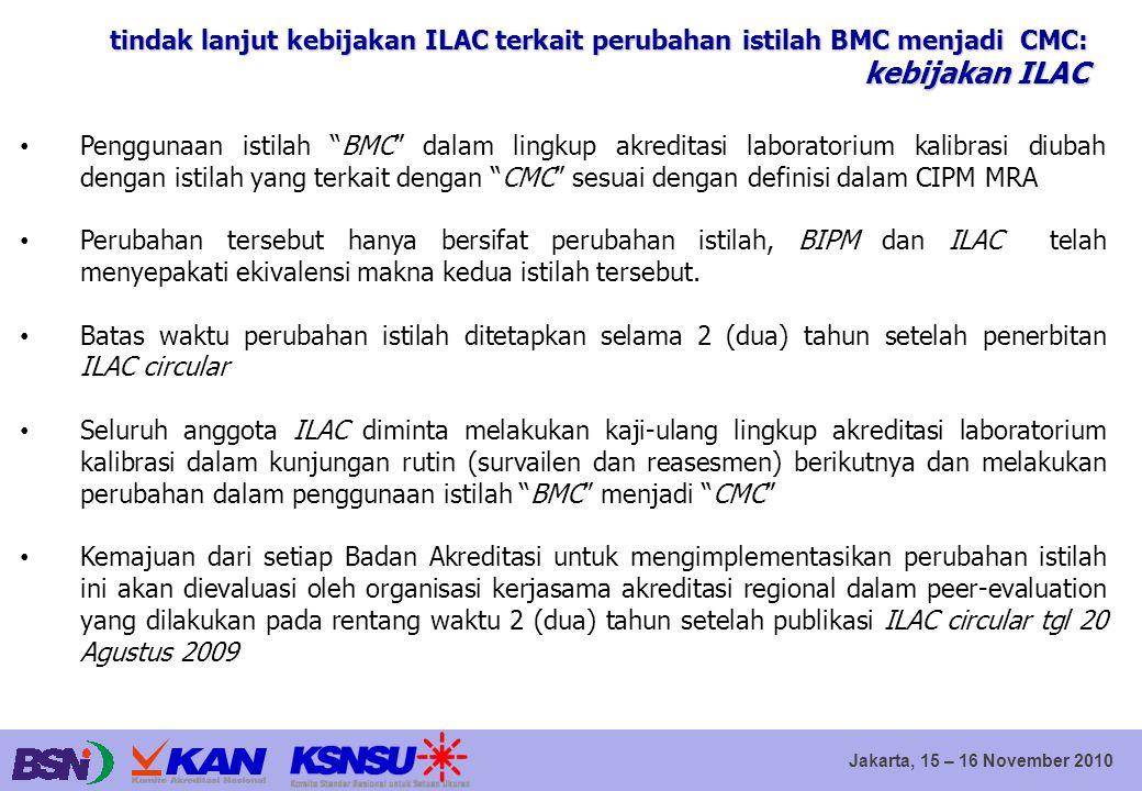 """Jakarta, 15 – 16 November 2010 Penggunaan istilah """"BMC"""" dalam lingkup akreditasi laboratorium kalibrasi diubah dengan istilah yang terkait dengan """"CMC"""
