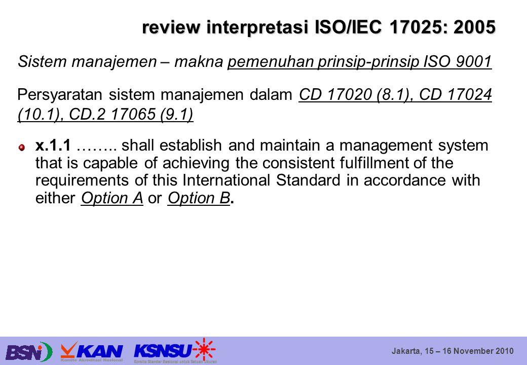 Jakarta, 15 – 16 November 2010 review interpretasi ISO/IEC 17025: 2005 Sistem manajemen – makna pemenuhan prinsip-prinsip ISO 9001 Persyaratan sistem